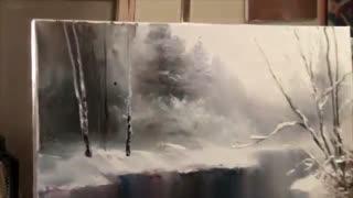 منظره برفی  روخانه و درختان پوشیده از برف. رنگ روغن  اثر نقاش روس، ایگور ساخاروف . تکنیکی و آموزشی