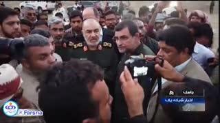 فرمانده کل سپاه در بازدید از مناطق سیلزده شرق هرمزگان: تا آخر کنار مردم میمانیم