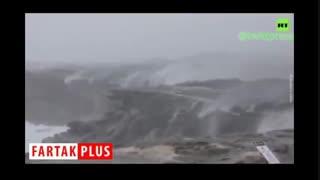 برعکس شدن جریان آبشار بر اثر طوفان و باد شدید!