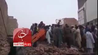 ۱۴ کشته و زخمی در ریزش ساختمان ۳ طبقه در پاکستان