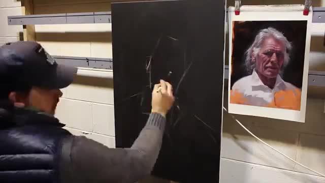 آموزش نقاشی پرتره یک مرد مسن