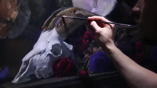 آموزش نقاشی طبیعت بیجان با تکنیک رنگ روغن