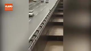 طغیان مسیل در تهران بزرگراه باکری