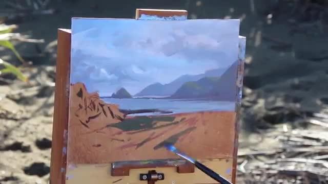 آموزش نقاشی چشم انداز دریا با تکنیک رنگ روغن