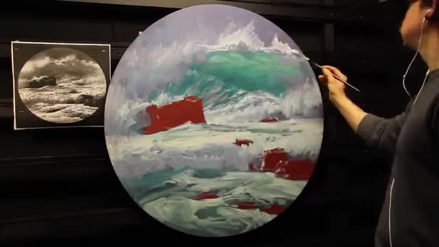 آموزش نقاشی موج دریا با تکنیک رنگ روغن