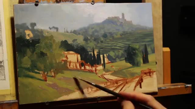 آموزش نقاشی منظره یک دهکده قدیمی