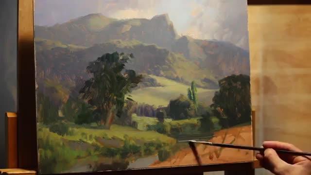 آموزش نقاشی منظره جنگل و کوهستان