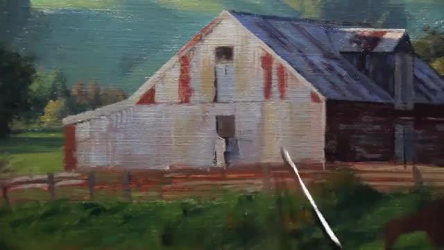 جزئیات نقاشی محیط روستایی با تکنیک رنگ روغن