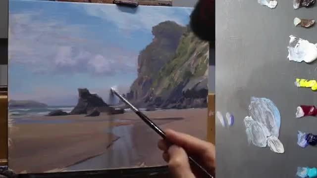 آموزش نقاشی چشم انداز ساحل دریا