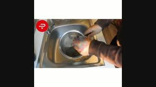 تمیز کردن قابلمه سوخته استیل