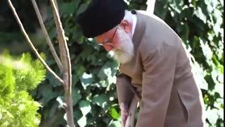 Imam Khamenei planted saplings during Natural Resources Week
