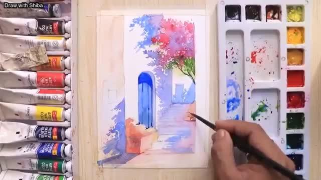نقاشی بیرون یک خانه مراکشی