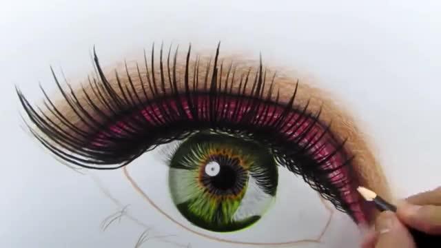آموزش نقاشی چشم واقعی با مدادرنگی