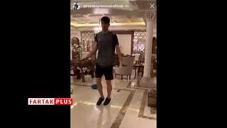 ویدیوئی جالب از ورزش کردن بیرانوند در خانه