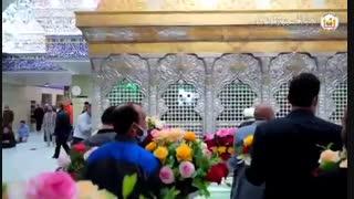 تزئین ضریح حضرت اباعبدالله الحسین به مناسبت ولادت ایشان