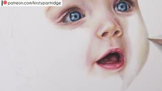 ✅ آموزش نقاشی صورت بچه نوزاد با مدادرنگی