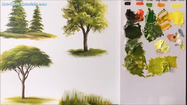 آموزش نقاشی انواع درخت