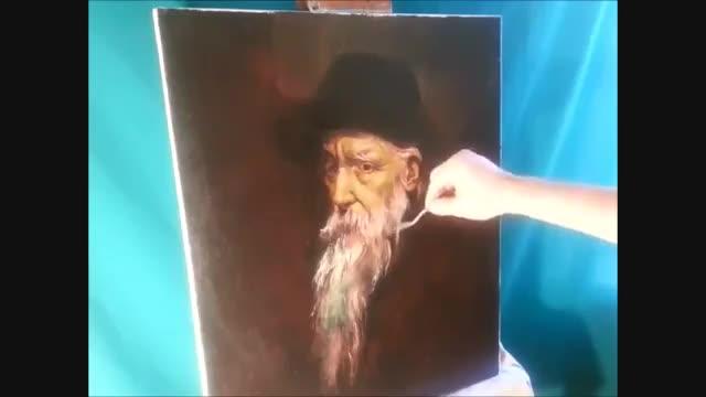 آموزش نقاشی پرتره کلاسیک پیرمرد
