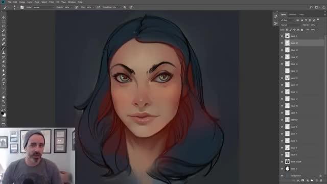 آموزش نقاشی دیجیتال چهره دختر سبک کاراکتر دیزاین