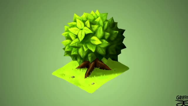 آموزش نقاشی دیجیتال درختچه ایزومتریک برای بازیهای موبایلی