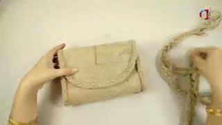 روش درست کردن کیف رودوشی با گونی کنفی