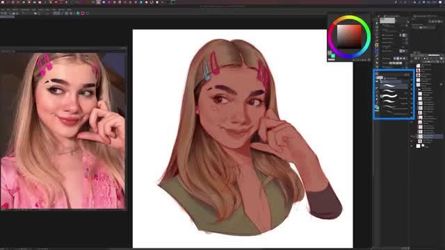 آموزش نقاشی دیجیتال پرتره دختر از روی عکس