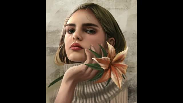 آموزش نقاشی دیجیتال چهره دختر از روی عکس