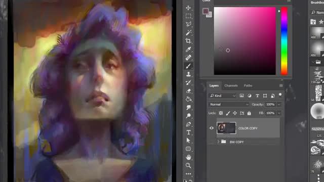 آموزش رنگی کردن نقاشی دیجیتال سیاه سفید