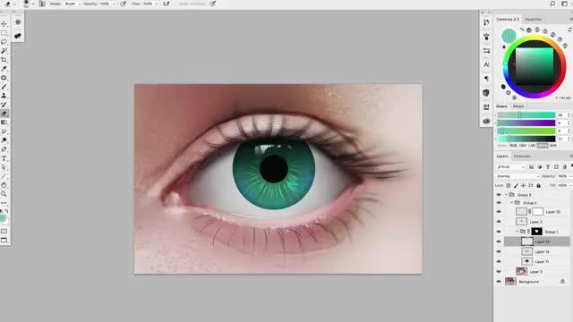 آموزش نقاشی دیجیتال عنبیه و جزئیات چشم