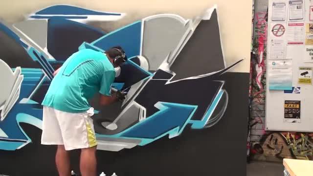آموزش نقاشی گرافیتی مدل دیجیتالی روی دیوار