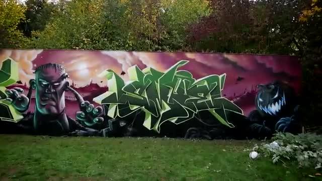 آموزش نقاشی اعجاب انگیز گرافیتی دیواری مناسب هالوین