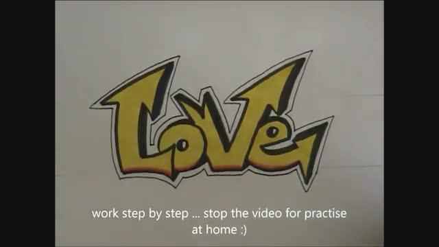 آموزش طراحی لغات گرافیتی مدل نوک تیز و شکننده