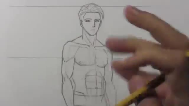 آموزش طراحی بدن یک مرد به سبک کارکتر انیمه و مانگا ژاپنی