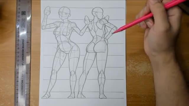 آموزش طراحی کاراکتر یک دختر ایستاده از پشت و جلو