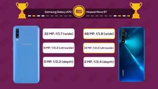 مقایسه گوشی سامسونگ گلکسی ای 70 با هواوی نوا 5 تی (Samsung Galaxy A70 VS Huawei Nova 5T)
